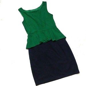 Green and Navy Peplum Dress from Enfocus Studios
